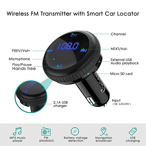 CHGeek Bluetooth FM Transmitter with Smart Car Locator Wireless Car Radio Adapter MP3 Player Music Gear Hands-free Car Kit with 5V/2.1A Dual Port USB Car Charger with LED Display for iPhone, Samsung, LG, HTC, Nexus etc. – CH09