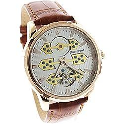 itemstoday Rose Gold automatische mechanische Herren Skelett Leder Band Armbanduhr Geburtstagsgeschenk