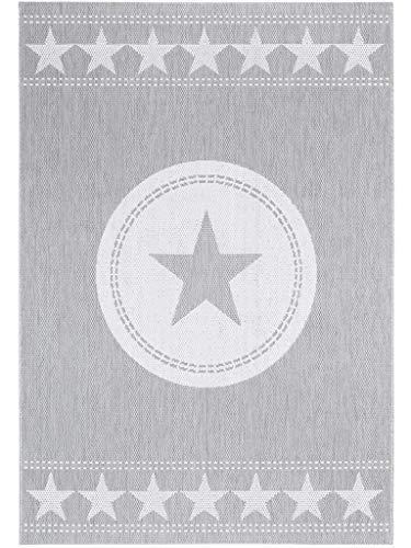 benuta In- & Outdoor Teppich Essenza Star Grau 120x170 cm | Pflegeleichter Teppich geeignet für Innen- und Außenbreich, Balkon und Terrasse -