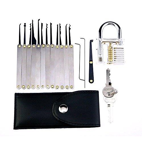16-teiliges Einsteiger Dietrich Set mit transparentem Übungsschloss, Schlossknacken Schlüssel Extractor Werkzeug with Transparente Übungs-Gebrochene Key Vorhängeschlösser Dietrich Set