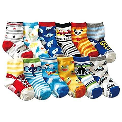 JT-Amigo 12 Paire de Chaussettes Antiderapants Bébé 6 à 36 (Abbigliamento bambino)