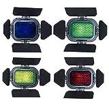 Godox Fotografia di Porta ortodossa Set di Accessori per l'illuminazione di Posizione Fotografia basata AD200 Le Porte del fienile con Flash Tascabile includono Un Kit di Quattro Colori