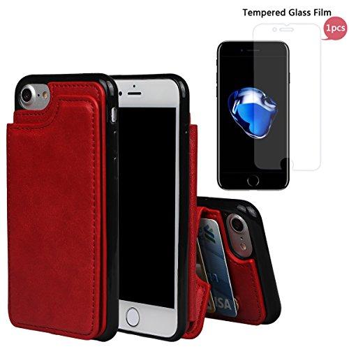 """xhorizon TM Strapazierfähiger stoßfester Brieftasche-Case aus hochwertigem PU-Leder, Rückseite-Folio Flip-Brieftasche-Case mit Kreditkartenschlitzen für iPhone 7 [4.7""""] mit einem 9H Ausgeglichen Glas  Rot + 9H Tempered Glass Film"""