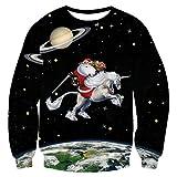 Uideazone Frauen Männer Lustige Weihnachten Paar T-Shirts Langarm Sweatshirts Schwarz ,Asia XXL= EU XL