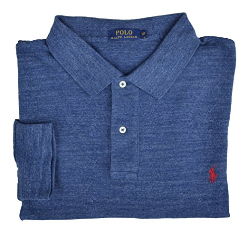 Ralph Lauren Big & Tall Langarm Poloshirt Polo Blau Melange Classic Royal Heather Größe 3XB (Big Tall Ralph Lauren Polo And)