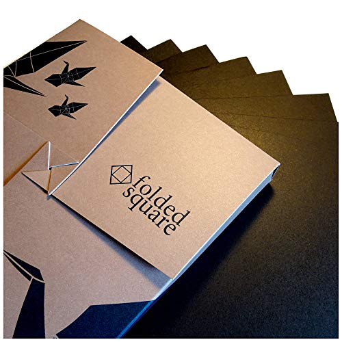 Schwarz Origamipapier | 100 Blatt, 15cm Quadrat | Pantone Process Schwarz -