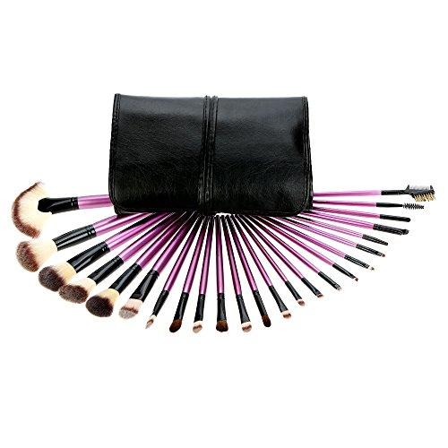 Abody 24pcs Pinceau de maquillage mis Essential Kit cosmétique avec sac cosmétique poudre pour le visage Pinceau fard à paupières sourcil Eyeliner pinceau