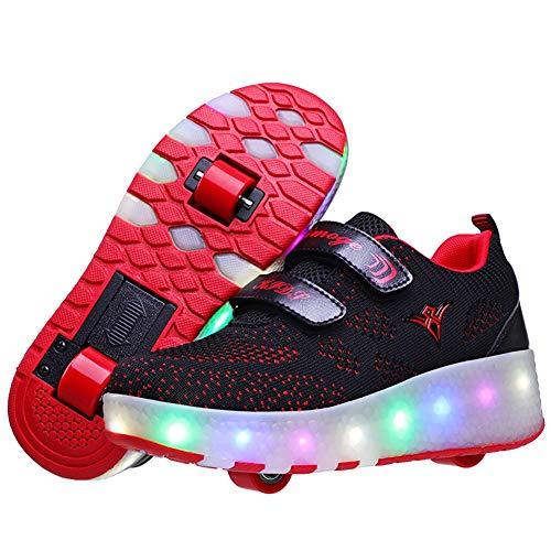 Charmstep Kinder Skateboard Schuhe Kinderschuhe mit Rollen LED Skate Rollen Schuhe USB Aufladbare Sportschuhe Laufschuhe Sneakers mit 2 Räder Jungen Mädchen,Black,38EU