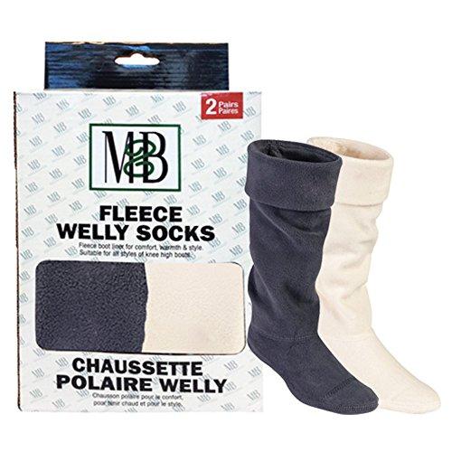 Moneysworth und Best Fleece Welly Socken, Grey/Cream (Welly Sock Liner)