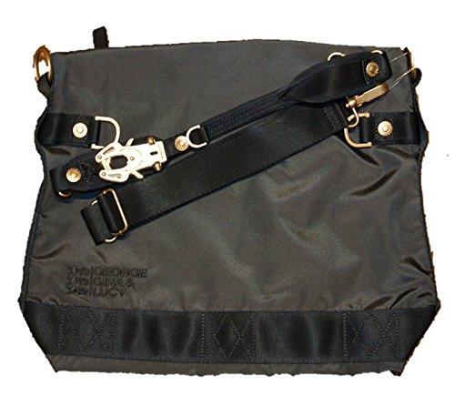 GEORGE GINA & LUCY, Damen Handtaschen, Hobo-Bag, Schultertaschen, Beuteltaschen, Henkeltaschen, 40 x 32 x 13 cm (B x H x T), Farbe:Dunkelgrau - Hobo Leder-camel