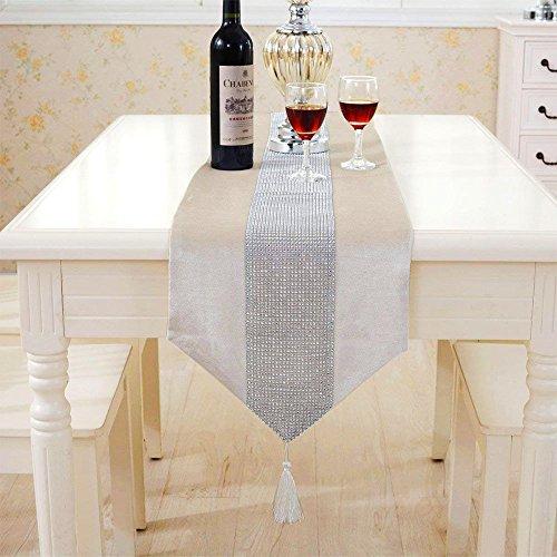 Deggodech Samt stilvolle atmosphäre minimalistischen modernen Diamanten Tischläufer/Tischdecke Couchtisch Tuch und Zwei Quasten (32 x 185 cm) (beige)