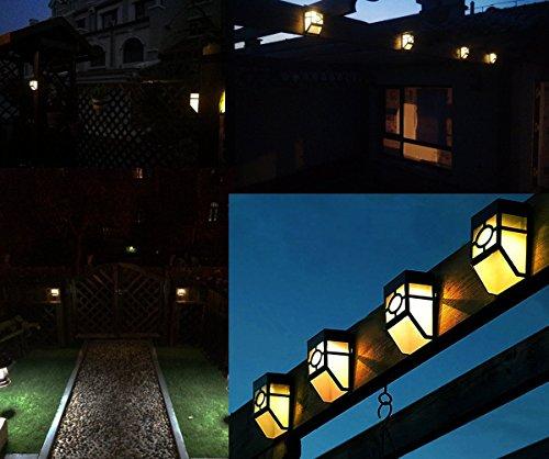 Deck Teich (yinghao Solar-Leuchten Deck Wandhalterung Wasserdicht Nacht Licht Sensor Leuchte Lampe Lampen für Zaun Treppen Stufen Terrassen Teich Pool, 2Stück Yellow Light)