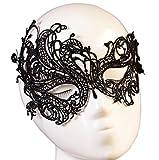 Daorier 1 Pcs Masque de Dentelle Vénitienne Masque Sexy Masque pour Halloween Carnival Mascarade Ball Costumes Accessoire de Fête (Noir)