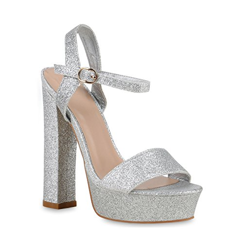 Damen Schuhe Sandaletten Plateau Blockabsatz High Heels Glitzer Party 128944 Silber Autol Glitzer 40 Flandell