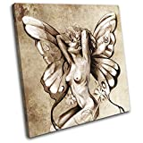 Bold Bloc Design - Nude Fairy Sprite Sexy Painting Erotic 90x90cm SINGLE Canvas Art Print Box Framed Picture Wall Hanging - Hand Made In The UK - Framed And Ready To Hang RC-0452(00B)-SG11-LO-D