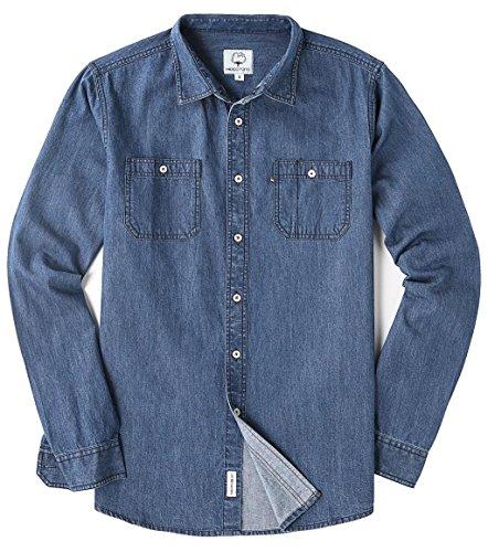 Mocotono camicia in jeans regular fit manica lunga da uomo