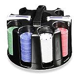 Pokerset mit 200 farbigen Pokerchips Jetons Kunststoff Chip-Karussell Caddy inkl. 2 Kartendecks Ergänzungs-Set