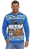 Lekeez TM, Pullover mit Weihnachtsmotiv für Damen und Herren, Rentier Rudolph, nordisches Strickmuster, klassischer Retro-/Vintage-Stil Gr. L, NAUGHTY SANTA RUDOLPH BLUE