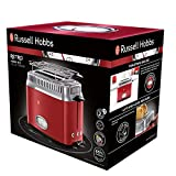 Russell Hobbs 21680-56 Toaster Retro Ribbon Red, Retro Countdown-Anzeige, Schnell-Toast-Technologie, 1300 Watt, rot - 2
