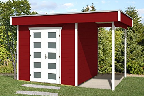 SKAN HOLZ Flachdachhaus, Venlo 2, 28 mm, Gartenhäuser, schwedenrot, 250 x 380 x 255 cm