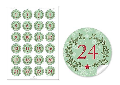 """'24chiffres de l'Avent en vert/rouge avec couronne de Noël et chiffres 1–24dans le """"Vintage Look rétro pour un calendrier de l'avent à remplir soi-même bricolage/Sacs Papier & # x2022; autocollantes Noël autocollant/sticker/étiquettes (Format 4cm, rond, mat)"""