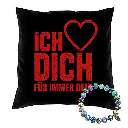 Schmuck & Liebeskissen -:- Ich liebe Dich -:- Geschenk Valentinstag Jahrestag Geburtstag Valentinstagsgeschenk für sie -:- Kissen: 40 x 40 cm : schwarz