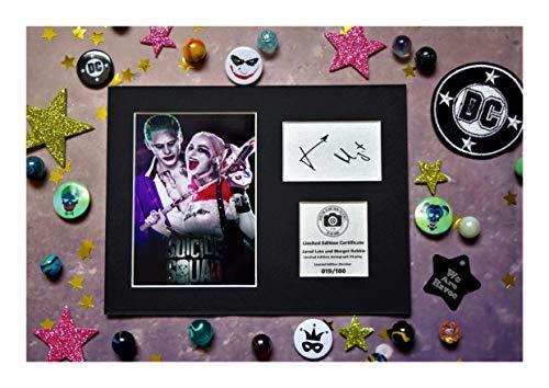 t Robbie SIGNED Autograph Display?Der Joker und Harley Quinn aus Suicide Squad?montiert und bereit zu gerahmt werden ()
