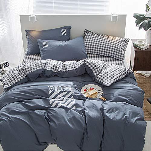 CHLCH Literie de Haute qualité avec Housse de Couette en Microfibre, taie d'oreiller, drapsEnsemble Quatre pièces en Coton lavé brodé en Coton color25 size3
