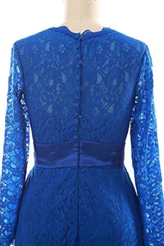 MACloth Women Long Sleeve Lace Short Cocktail Dress Wedding Party Evening Gown Lavande