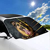 SHAOKAO Large Sunshade For Car Windshield German Shepard Dog Car Window Sun Shades 57.9x46.5 Inch(147cmx118cm) for Most Vehicles By Protect The Windshield And Wiper From Sun,ice,snow,frost
