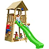 Blue Rabbit 2.0 Spielturm BELVEDERE mit Rutsche Kletterturm mit Kletterwand Glocke Sandkasten Lenkrad und Holzdach (Rutschenlänge 2,90 m, Grün)