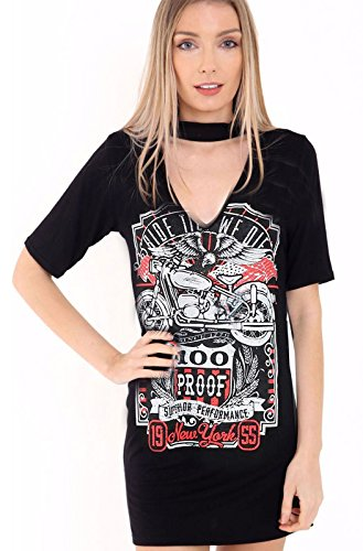 Damen Halsreif Hals T Shirt Dress Biker König der Straße Arizona Rock N Roll Sleeve Slogan bedruckt Tops (Shirt Roll Sleeve)