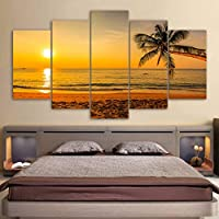 ZTTPCP 100x55cm Canvas Pictures Modular Home Decor 5 Pieces Wall Art Tropical Beach Sunset Palm Tree Paintings Modern HD Prints Poster