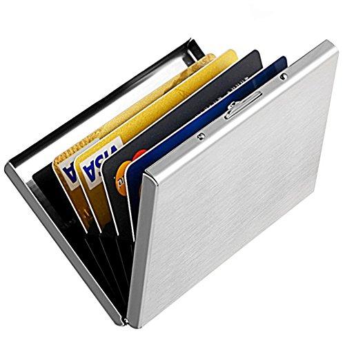 YiCoo Kreditkartenetui, Ausweishülle, Kartenetui RFID Schlank Edelstahl, Block Identity Diebe, Aluminium Metall Halter Fall Brieftasche,Visitenkartenetui,mit 6 PVC-Schlitze (Silber) (Card Schlank Credit Holder)