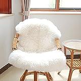 SDYDAY Weiches Kunstfell-Schaffellen Hairy, waschbar Teppich Stuhl Abdeckung Pad Matte, Bereich Teppich Sitzbezug Stuhl Pad, weiß, Free Size
