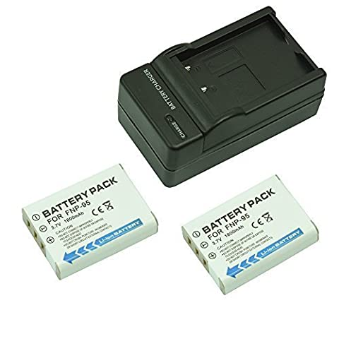 Mondpalast @ Remplacement Battery X2 NP-95 NP95 FNP95 FNP-95 1800mah + charger for Fujifilm Finepix X30 X-S1 X100 X100T X100S F31, F31 fd, F31fd F30, F30 Zoom Real 3D W1 Ricoh DB-90 DB90 Ricoh