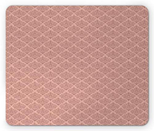Vintage Moss Rose (WYICPLO Pink Damask Mouse Pad, Vintage Faded Effect Swirled Floral Bouquet Rhombus Shape Damask Moss, Standard Size Rectangle Non-Slip Rubber Mousepad, Dried Rose and Blush)