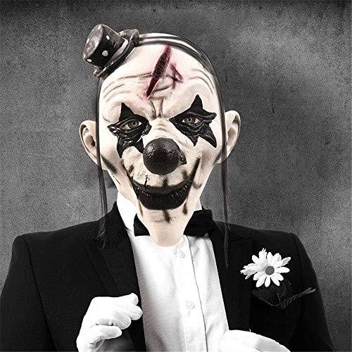NUOKAI Halloween Maske Terrorist Kopfbedeckung Ghost Scary Männer und Frauen Grimasse Masquerade Teufel Latex Clown Maske, Latex Teufel Clown Maske