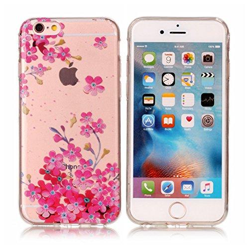 iPhone 6 Coque, Voguecase TPU avec Absorption de Choc, Etui Silicone Souple Transparent, Légère / Ajustement Parfait Coque Shell Housse Cover pour Apple iPhone 6/6S 4.7 (PINEAPPLE)+ Gratuit stylet l'é petite fleur rose