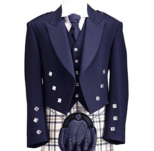 Blu Principe Charlie Giacca Kilt con Coatee Gilet formale Scozzese Highland Wear Blue 46