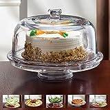 Glas Multifunktionaller 6 in 1 Kuchenständer/Kuchenplatte / Chip & Dip Platte/Bowle-Schale/Salatschüssel Alle aus Glas (Nicht aus Plastik)