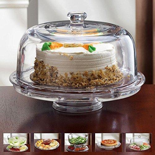 Glas Multifunktionaller 6 in 1 Kuchenständer/Kuchenplatte/Chip & Dip Platte/Bowle-Schale/Salatschüssel Alle aus Glas (Nicht aus Plastik)