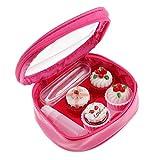 non-brand Sharplace Reise Cartoon Kuchen-Design Kontaktlinsenbehälter Kontaktlinsen Aufbewahrungsbox mit Sauger und Pinzette - Rose Rot