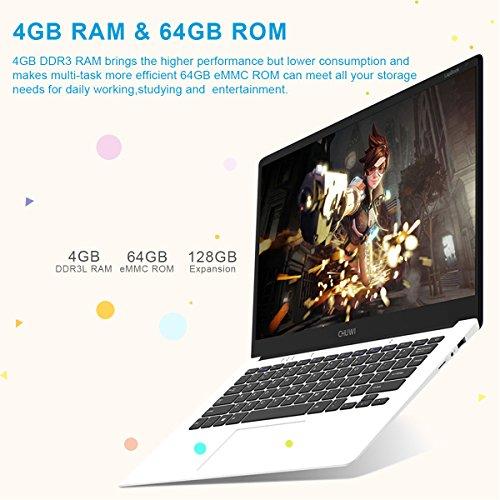 CHUWI - 14.1 Zoll Windows10 Laptop (64Bits, 4GB RAM, 64GB ROM, IntelApolloLakeCeleronN3450, 2.2GHz, QuadCore, BT4.0 External 3G, 1920*1080FullHD IPS, Intel HD Graphics, Wlan) Weiß - 7