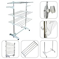 Eueasy - Laundry Drying Rack, Clothes Drying Stand - Size: 143 x 88 x 66 cm - Folded size: 143 x 88 x 13 cm - 3 shelves, White, with wings
