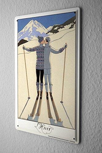 Blechschild Urlaub Österreich Kitzbühel Ski Metallschild Deko 20x30 cm tin sign