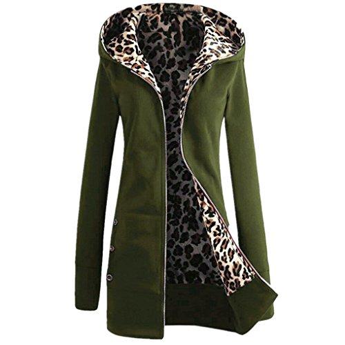 Damen Mantel YunYoud Frau Dicker Mit Kapuze Jacken Plus Samt Winterjacke Mode Leopard Outwear Einfarbig Reißverschluss Kapuzenjacke Beiläufig Bekleidung (Armeegrün, M) (Open Schal Kragen Cardigan)