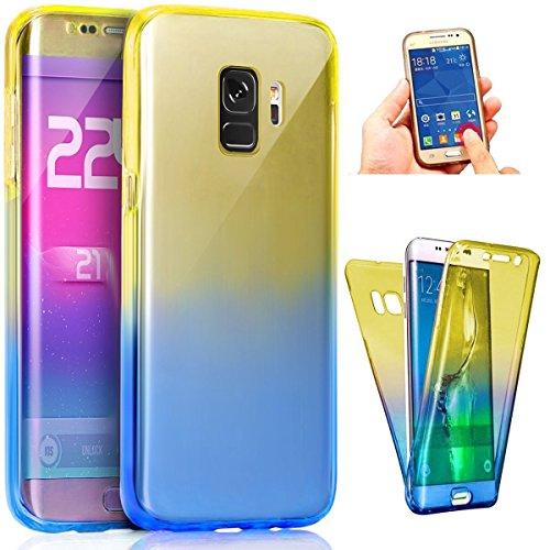 Coque Galaxy S9,Etui Galaxy S9,ikasus Intégral 360 Degres avant + arrière Full Body Protection Couleur de dégradé Transparente Silicone Gel TPU Souple Housse Etui Case Coque pour Galaxy S9,Bleu Jaune