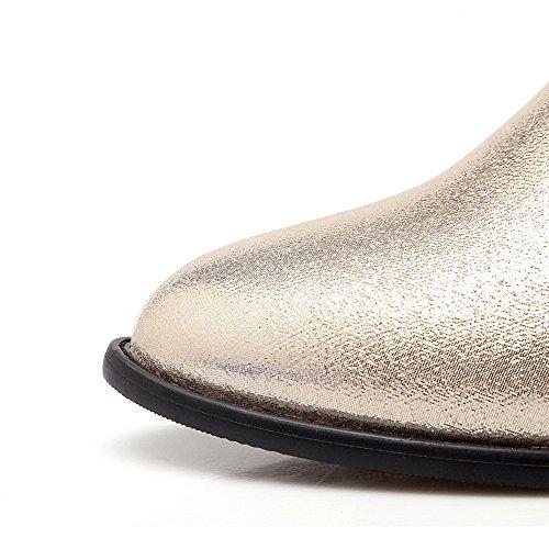 AllhqFashion Damen Niedriger Absatz Blend-Materialien Überknie Hohe Stiefel Stiefel Golden
