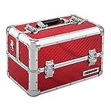 anndora Beauty Case Kosmetikkoffer Schmuckkoffer 21 Liter - Aluminium Rot Raute